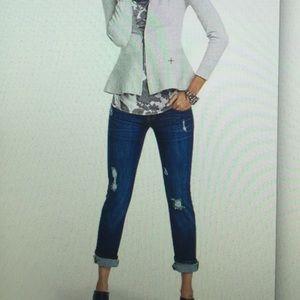 CAbi Slim Boyfriend Distressed Jeans